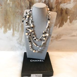 Authentic Chanel Pearl Beaded CC Logo Necklace